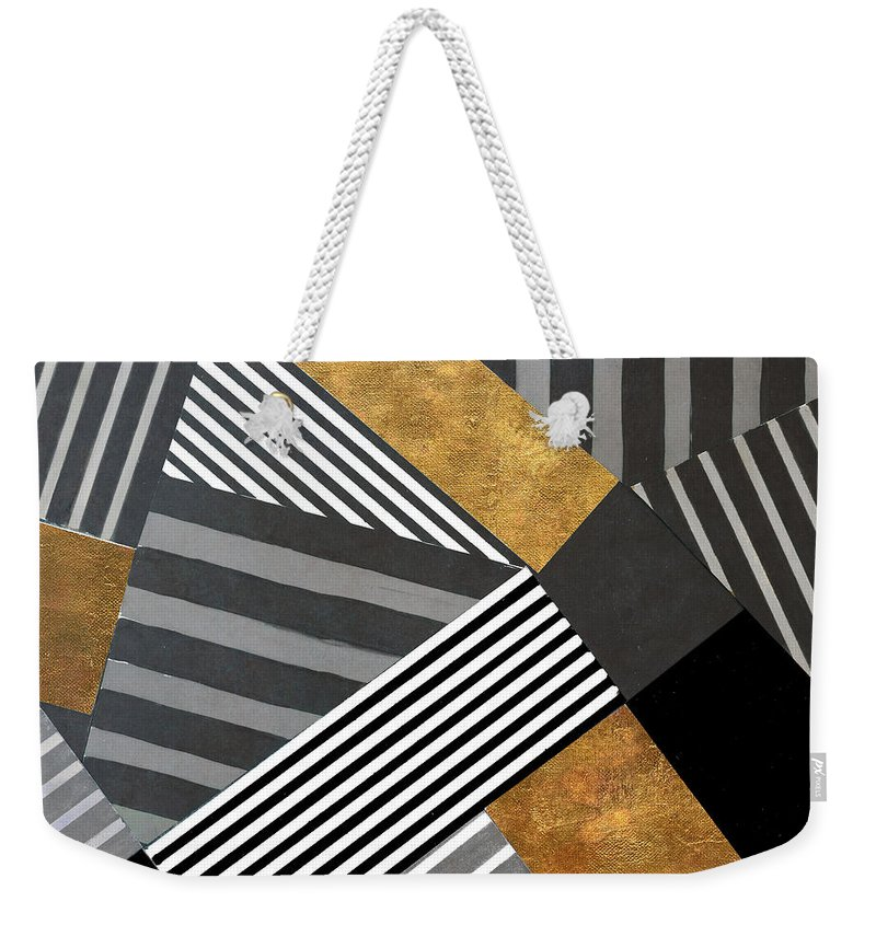 Geo Weekender Tote Bag featuring the painting Geo Stripes In Gold and Black II by Lanie Loreth