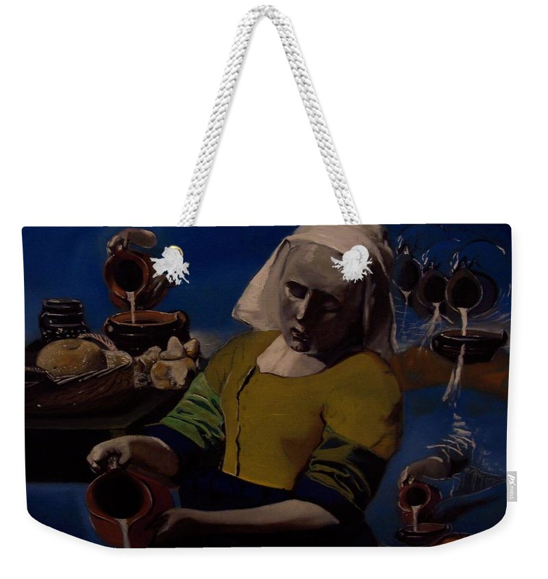 Weekender Tote Bag featuring the painting Geological Milk Maid Anthropomorphasized by Jude Darrien