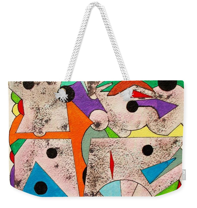 Original Weekender Tote Bag featuring the painting Geometric Conundrum by Roberto Prusso