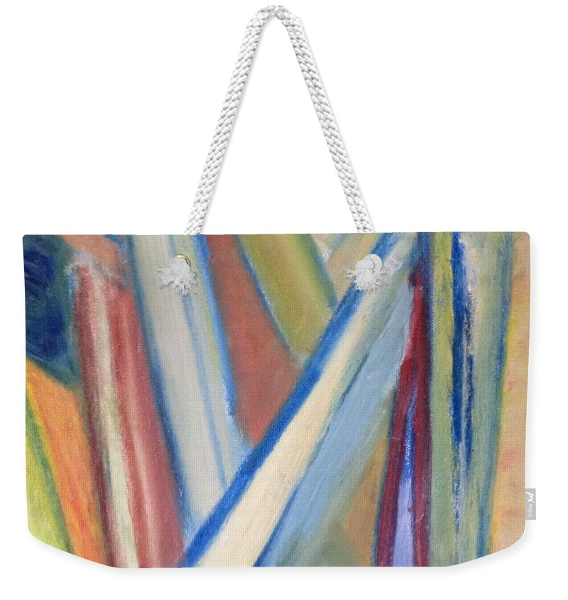 Abstract Weekender Tote Bag featuring the painting Geometric Tension Series V1 by Patricia Cleasby