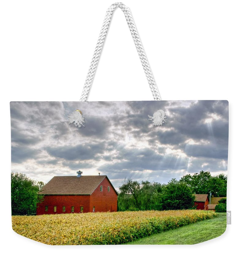 Red Barns Weekender Tote Bag featuring the photograph Geometry Of Autumn by Nikolyn McDonald