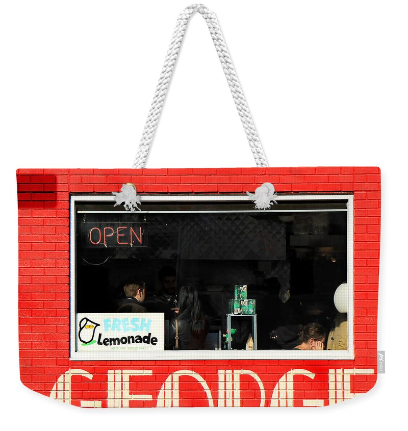 George Weekender Tote Bag featuring the photograph George Diner by Andrew Fare