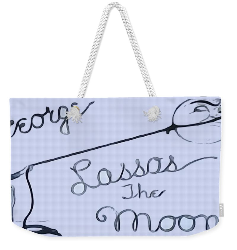 George Lassos The Moon Weekender Tote Bag featuring the digital art George Lassos The Moon by Dan Sproul