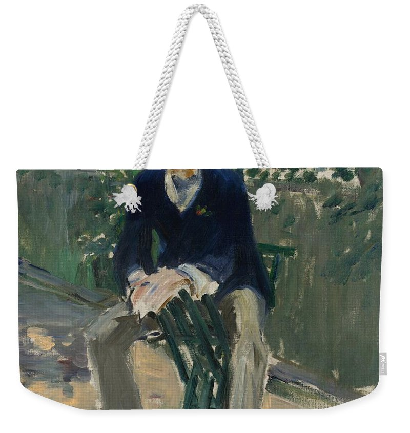 1879 Weekender Tote Bag featuring the painting George Moore In The Artist's Garden by Edouard Manet