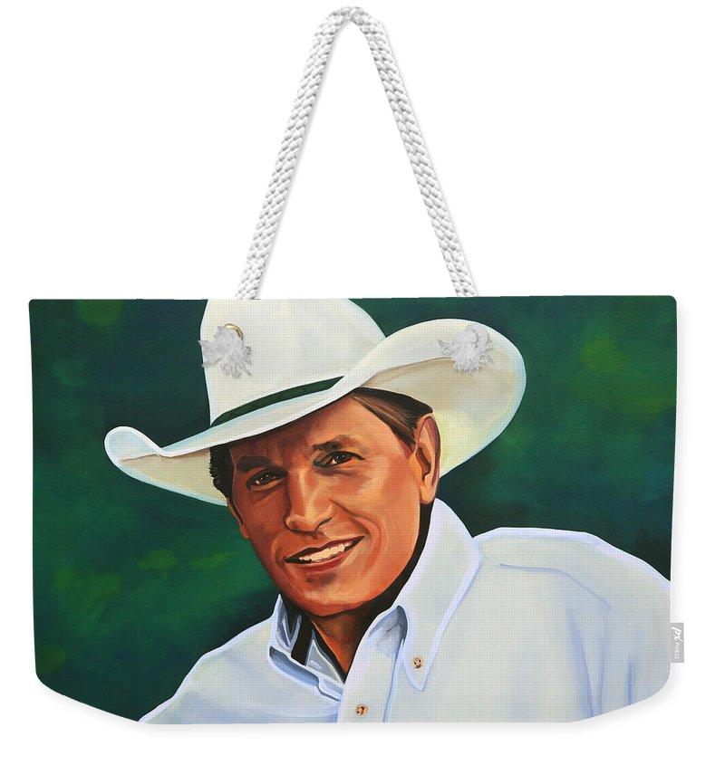 George Strait Weekender Tote Bag featuring the painting George Strait by Paul Meijering