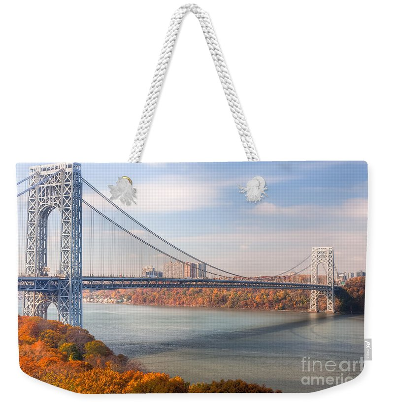 Clarence Holmes Weekender Tote Bag featuring the photograph George Washington Bridge by Clarence Holmes