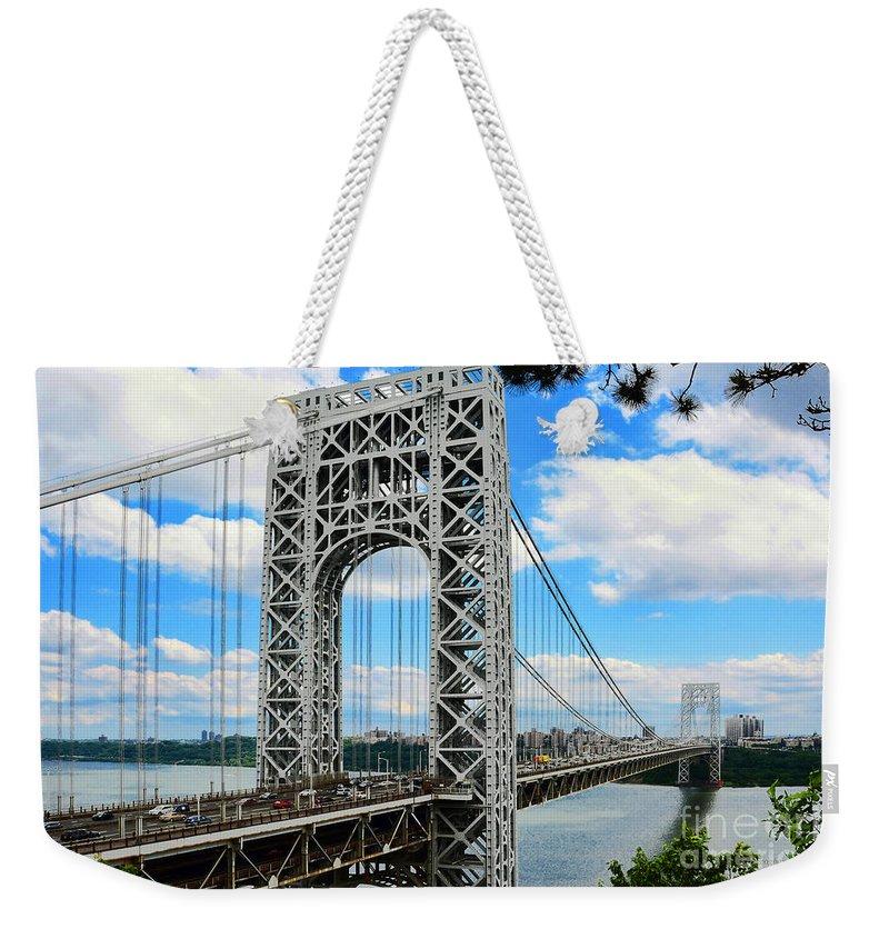 George Washington Bridge Weekender Tote Bag featuring the photograph George Washington Bridge by Regina Geoghan