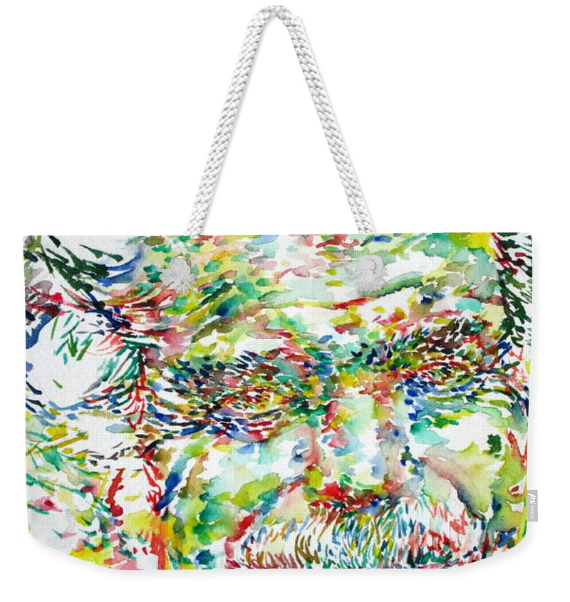 Georges Brassens Weekender Tote Bag featuring the painting Georges Brassens Portrait by Fabrizio Cassetta