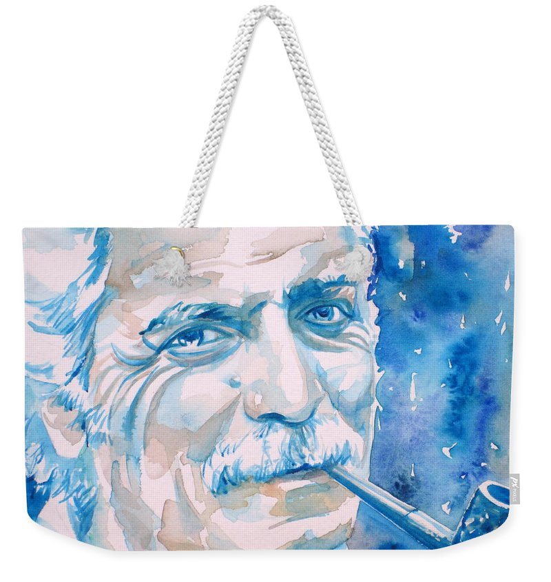 Georges Weekender Tote Bag featuring the painting Georges Brassens - Watercolor Portrait by Fabrizio Cassetta