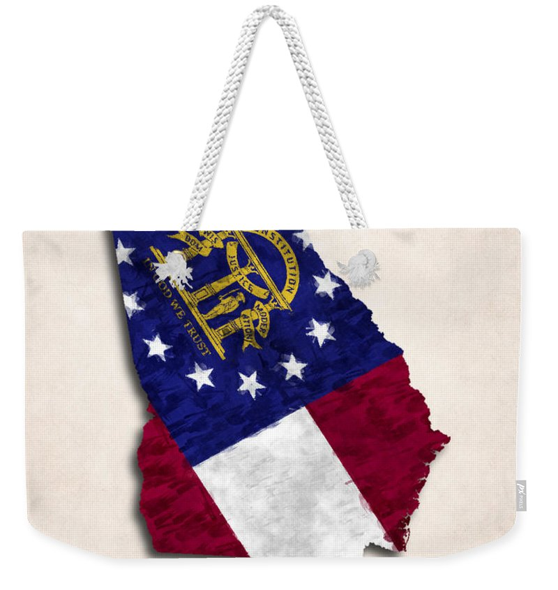 America Weekender Tote Bag featuring the digital art Georgia Map Art With Flag Design by World Art Prints And Designs