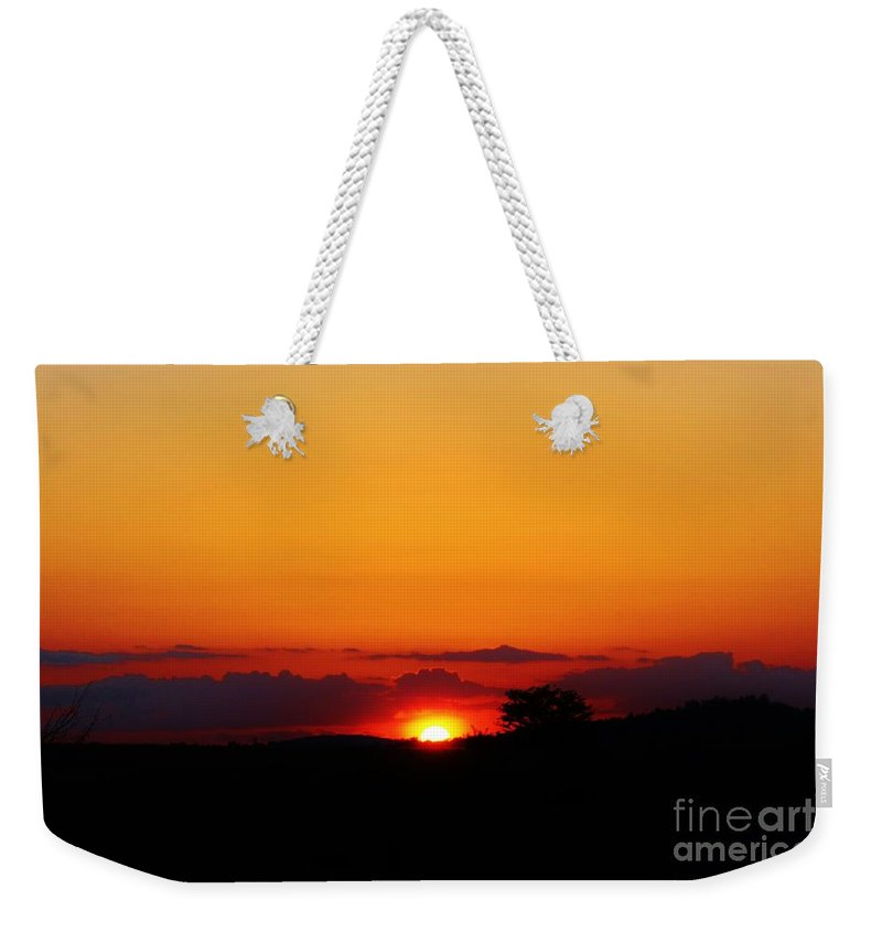 Kerisart Weekender Tote Bag featuring the photograph Georgia Peach Sunset by Keri West