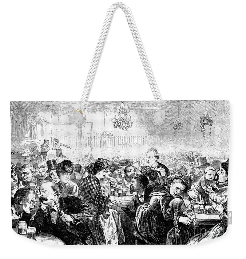 1872 Weekender Tote Bag featuring the photograph German Beer Hall by Granger