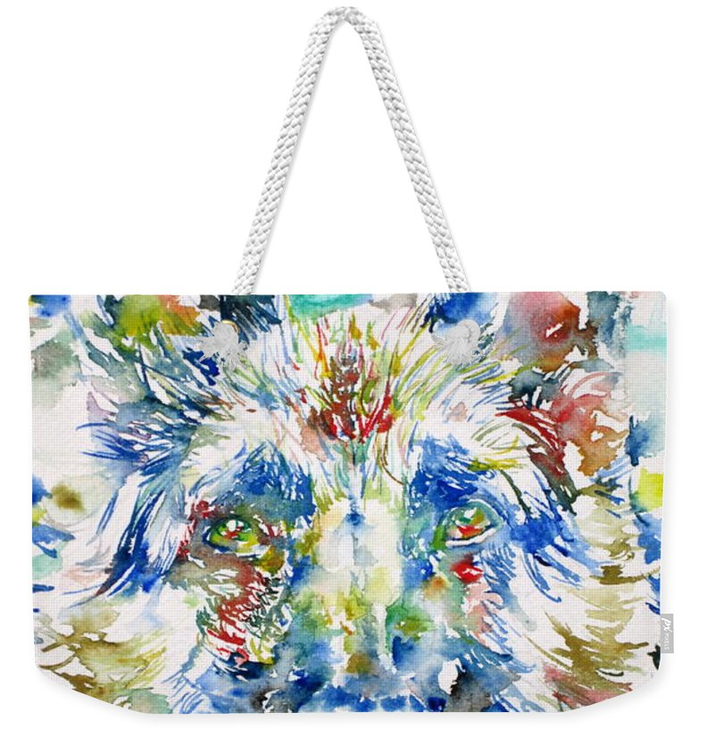 German Weekender Tote Bag featuring the painting German Shepherd - Watercolor Portrait by Fabrizio Cassetta