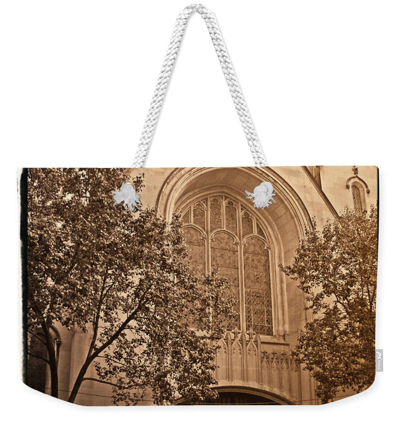 New York Weekender Tote Bag featuring the photograph Get Me To The Church by Donna Blackhall