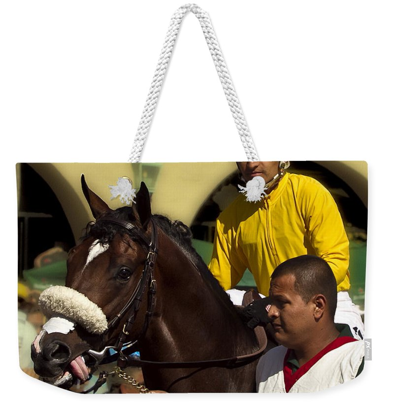 Del Mar Weekender Tote Bag featuring the photograph Getting Ready - Jockey And Horse For The Race by Angela Stanton