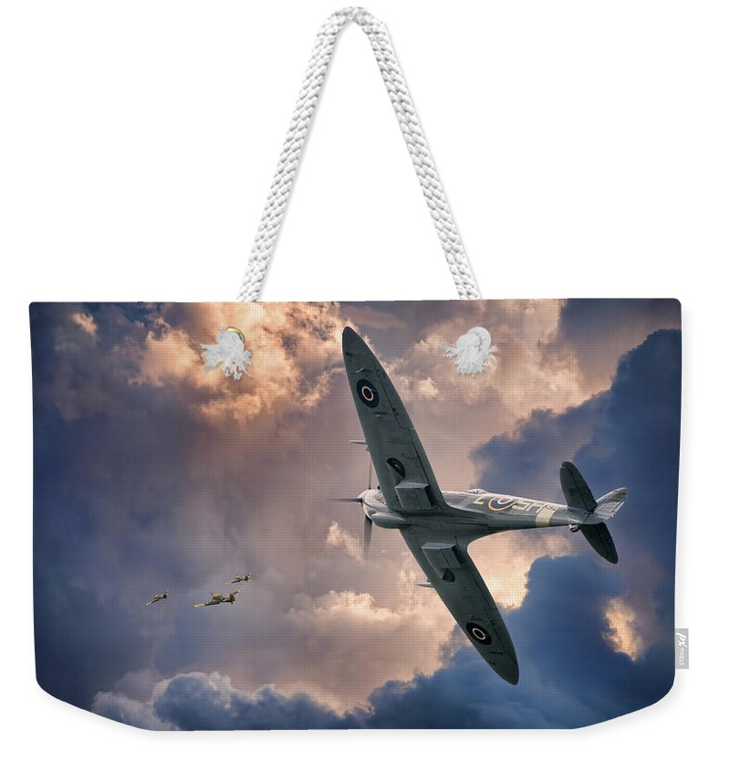Aviation Aircraft Flight Flying Military War Wwii Drama Skies Clouds Spitfire Fighting Fighter Royal Air Force Canadian Classic Beauty Weekender Tote Bag featuring the photograph Getting The Jump by Jeff Stephenson