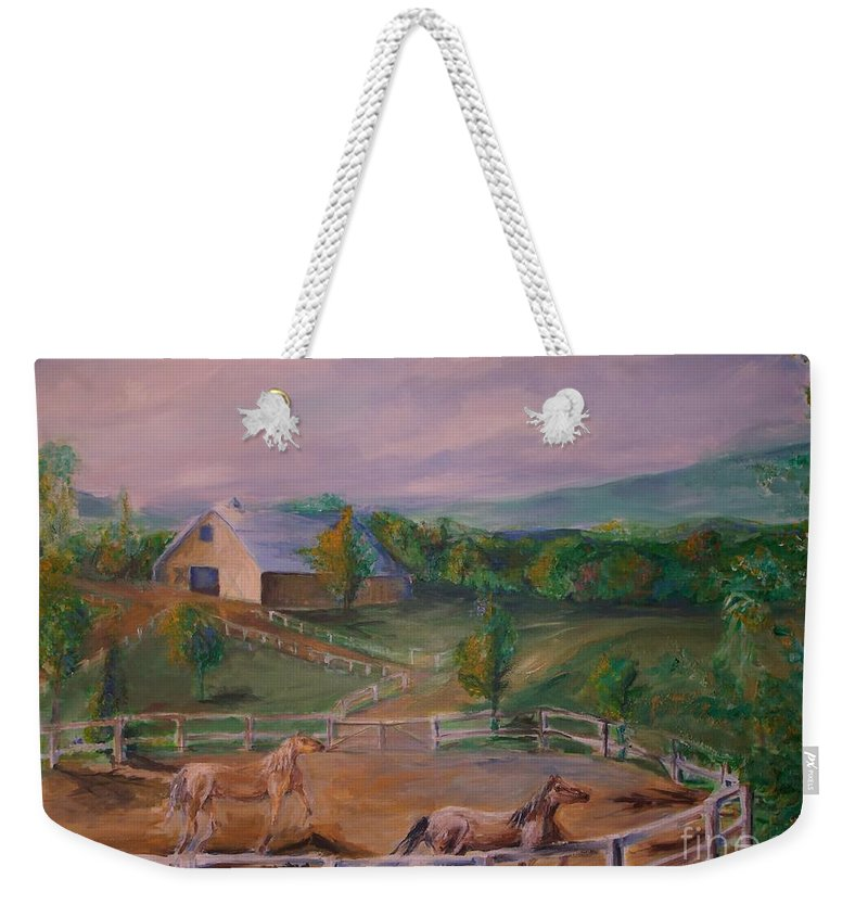 Pennsylvania Weekender Tote Bag featuring the painting Gettysburg Farm by Eric Schiabor