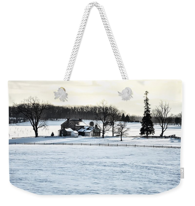 Gettysburg Weekender Tote Bag featuring the photograph Gettysburg Farm In The Snow by Bill Cannon