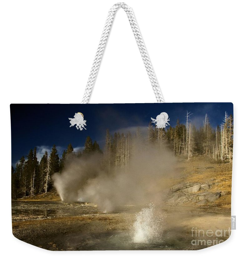 West Triplet Geyser Weekender Tote Bag featuring the photograph Geyser Buffet by Adam Jewell