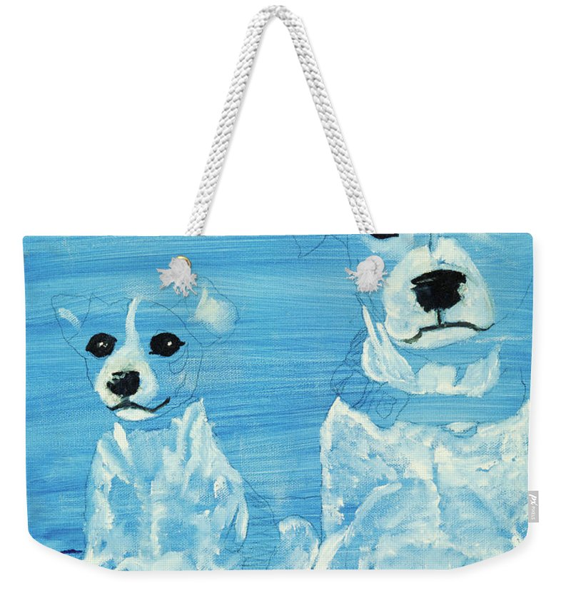 Dogs Weekender Tote Bag featuring the painting Ghost Dogs by Terry Lewey