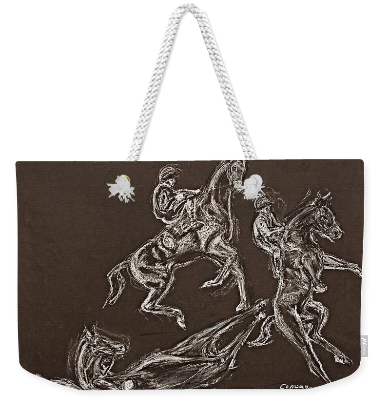 Rearing Horse Weekender Tote Bag featuring the drawing Ghost Riders In The Sky by Tom Conway
