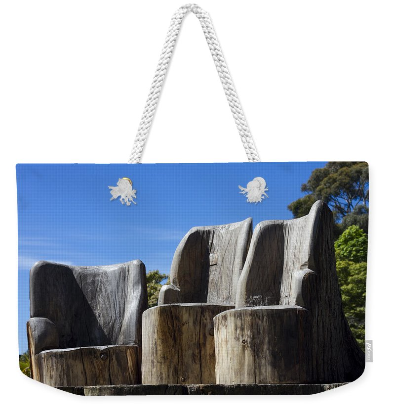 Chairs Weekender Tote Bag featuring the photograph Giant Seats by Peter Lloyd