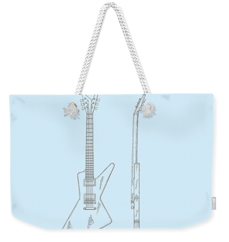 Music Weekender Tote Bag featuring the digital art Gibson Explorer Patent 1958 by Georgia Fowler