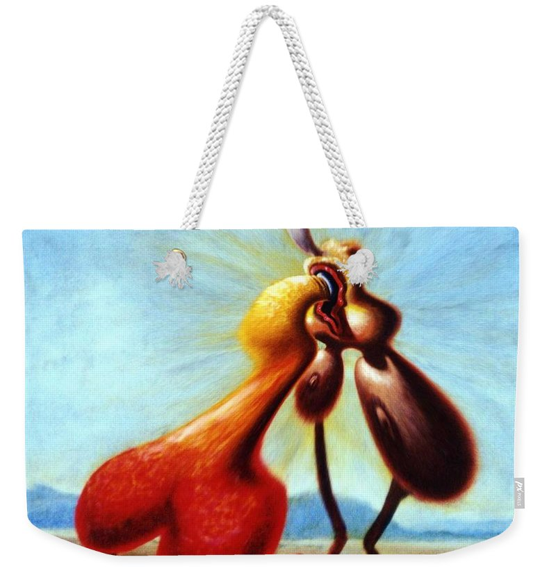 Genio Weekender Tote Bag featuring the mixed media Giddy Meeting by Genio GgXpress