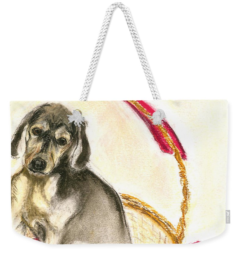 Dog Weekender Tote Bag featuring the drawing Gift Basket by Cori Solomon
