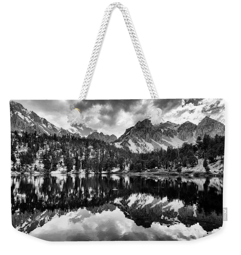 Lake Weekender Tote Bag featuring the photograph Gilbert Lake And University Peak by Cat Connor
