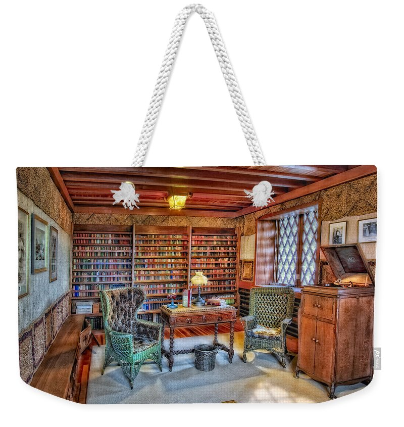 Connecticut Weekender Tote Bag featuring the photograph Gillette Castle Library by Susan Candelario