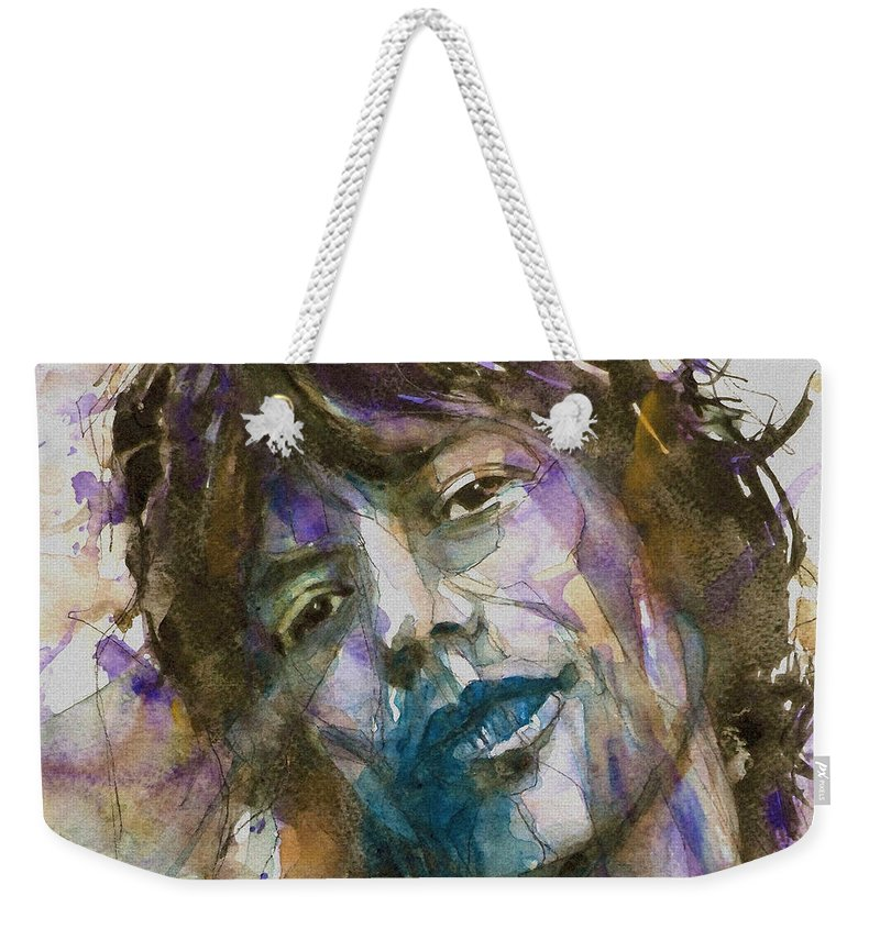 Rolling Stones Weekender Tote Bag featuring the painting Gimme Shelter by Paul Lovering