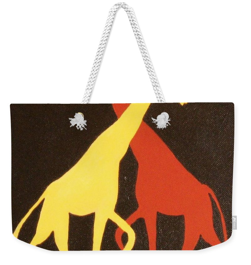 Kids Art Weekender Tote Bag featuring the painting Giraffe by Graciela Castro