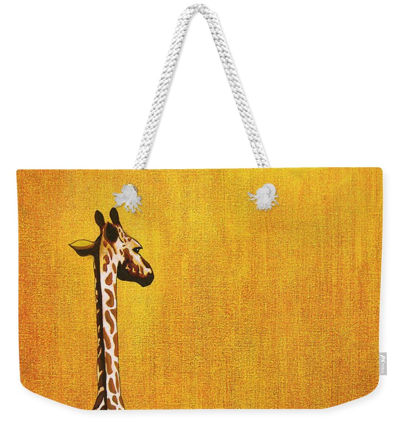 Giraffe Weekender Tote Bag featuring the painting Giraffe Looking Back by Jerome Stumphauzer