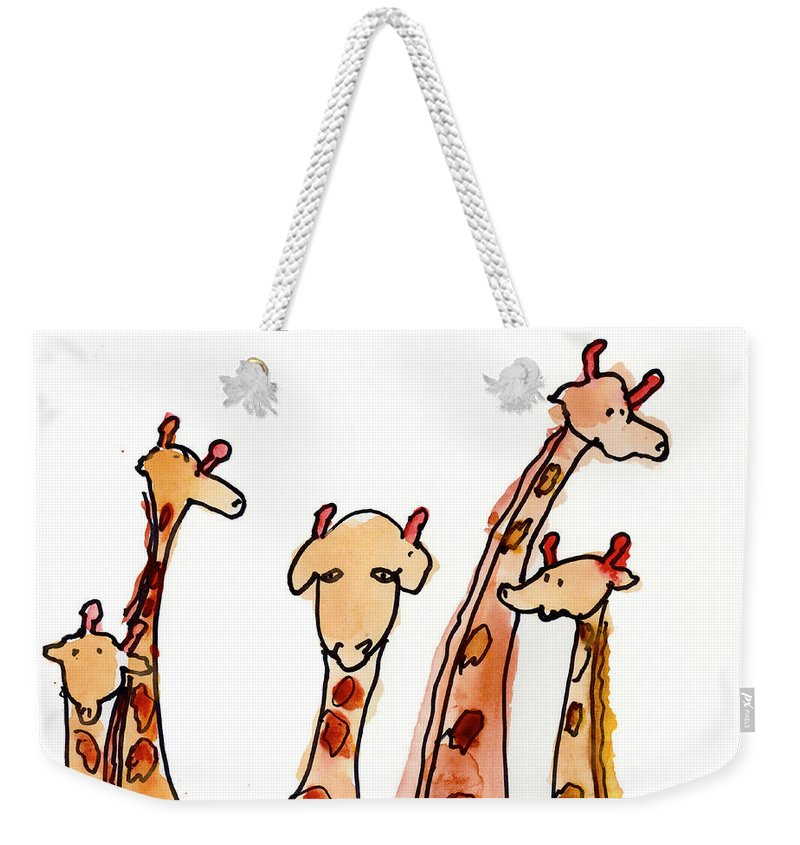 Giraffe Weekender Tote Bag featuring the painting Giraffes by Max Hutcheson Age Eleven