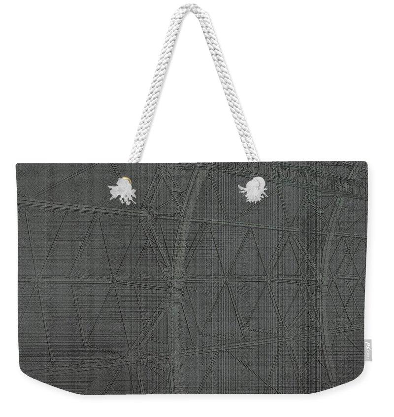 Girders Weekender Tote Bag featuring the digital art Girders by Diane Parnell