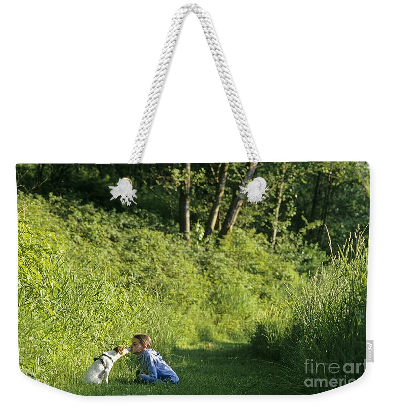 Animals Weekender Tote Bag featuring the photograph Girl And Dog On Trail by Jim Corwin