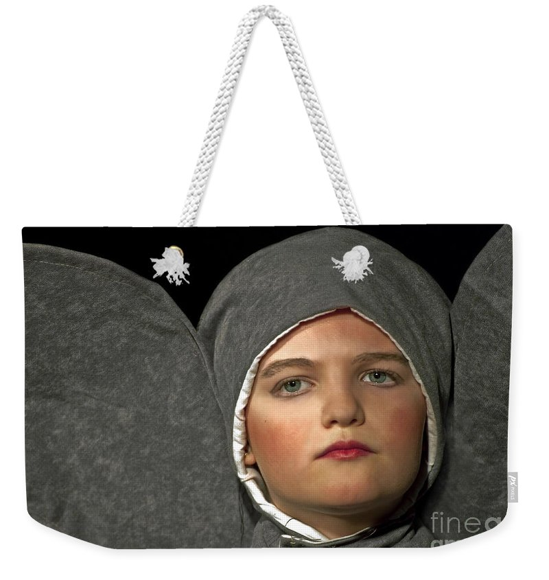 8-10 Year Old Weekender Tote Bag featuring the photograph Girl As Horton The Elephant Dr. Seuss Play Art Prints by Valerie Garner