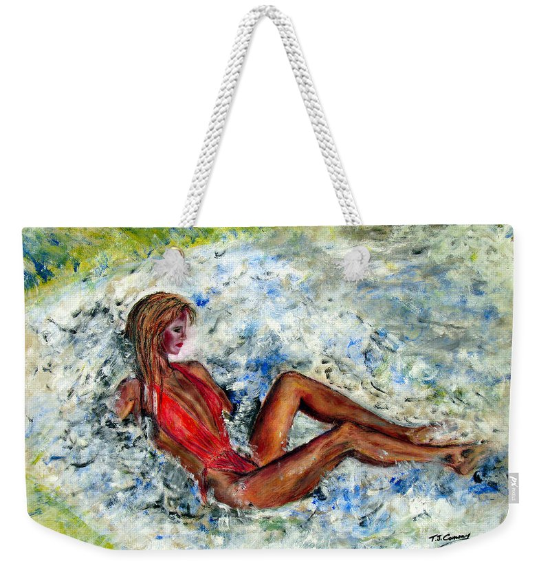 Girl Weekender Tote Bag featuring the painting Girl In A Red Swimsuit by Tom Conway