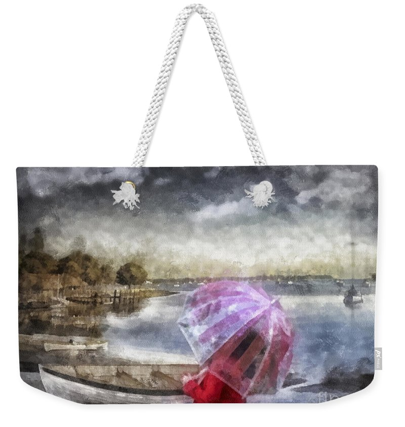 Girl In Red Coat Weekender Tote Bag featuring the painting Girl In Red Coat by Mo T