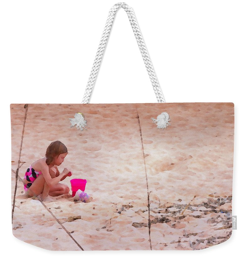 Girl Weekender Tote Bag featuring the photograph Girl In The Sand by Alice Gipson