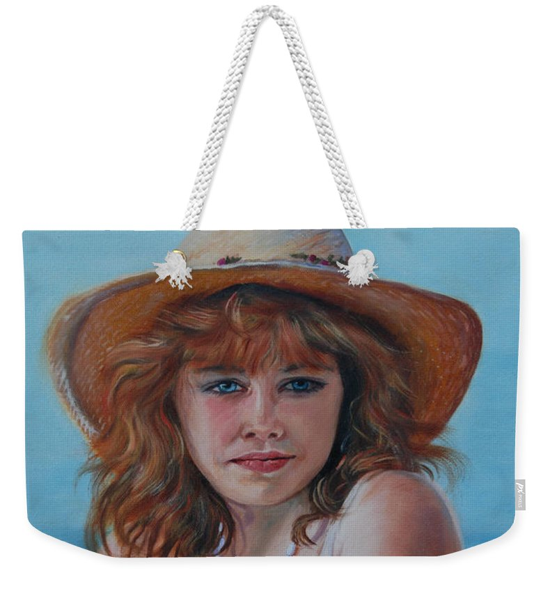 Girl Weekender Tote Bag featuring the painting Girl In The Straw Hat by Susan Duda