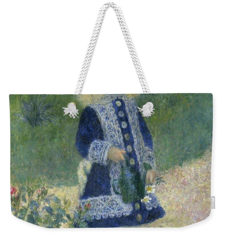 Auguste Renoir Weekender Tote Bag featuring the painting Girl With A Watering Can by Auguste Renoir