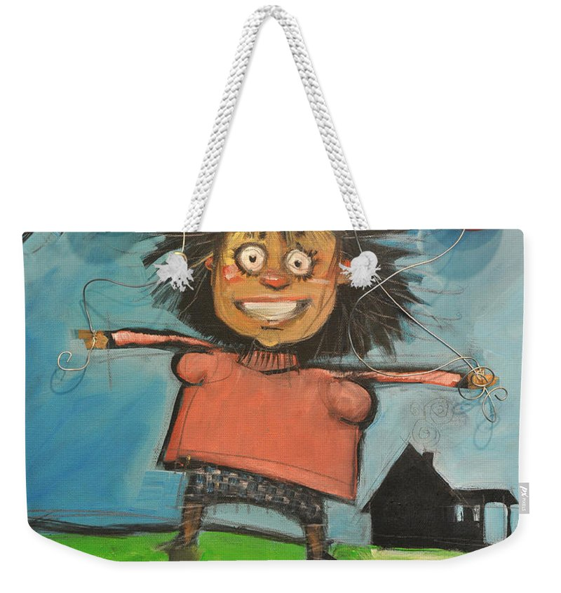 Girl Weekender Tote Bag featuring the painting Girl With Balloons And Dog by Tim Nyberg
