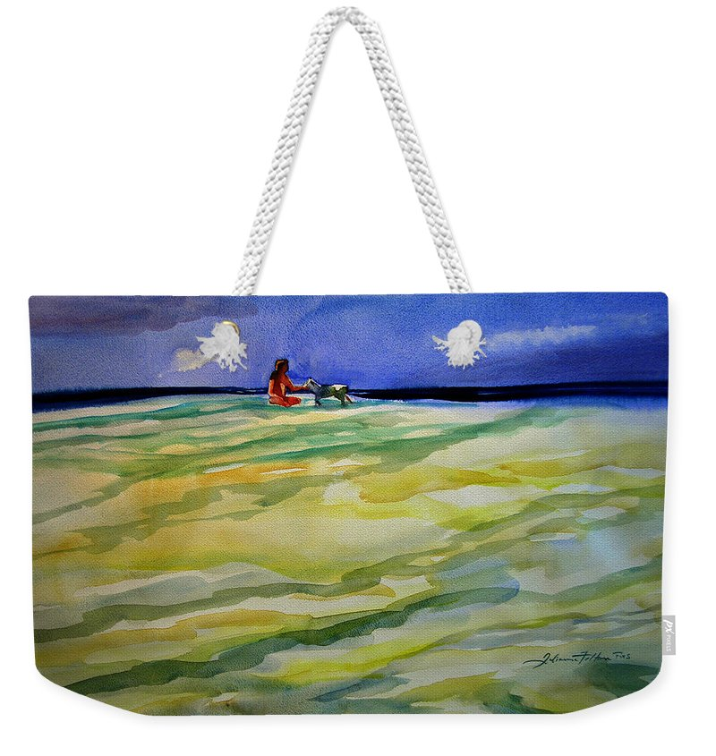 Impressionism Weekender Tote Bag featuring the painting Girl With Dog On The Beach by Julianne Felton