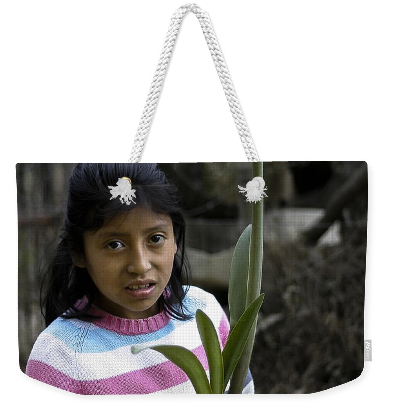 El Salvador Weekender Tote Bag featuring the photograph Girl With Flower by Steven Ralser