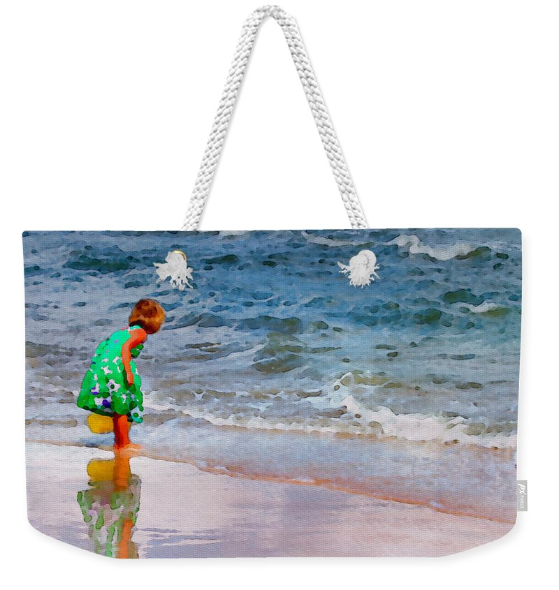 Girl Weekender Tote Bag featuring the photograph Girl With Pail by Alice Gipson