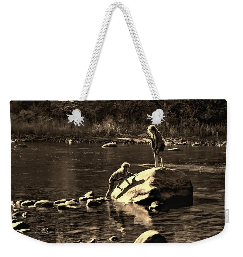 Girls Weekender Tote Bag featuring the photograph Girlfriends Sepia by Steve Harrington