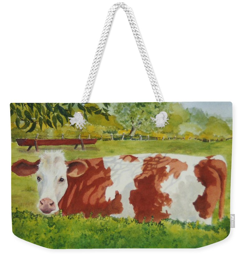 Cows Weekender Tote Bag featuring the painting Give Me Moooore Shade by Mary Ellen Mueller Legault