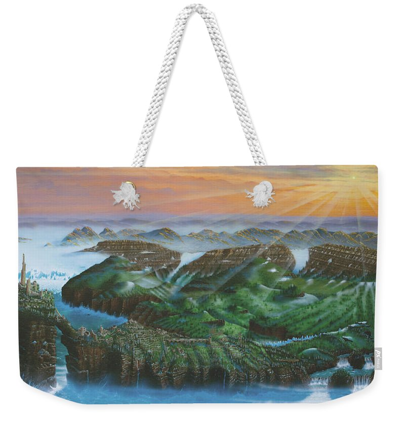 Ruins Weekender Tote Bag featuring the painting Glacier Castle Ruins by Dell Rosa